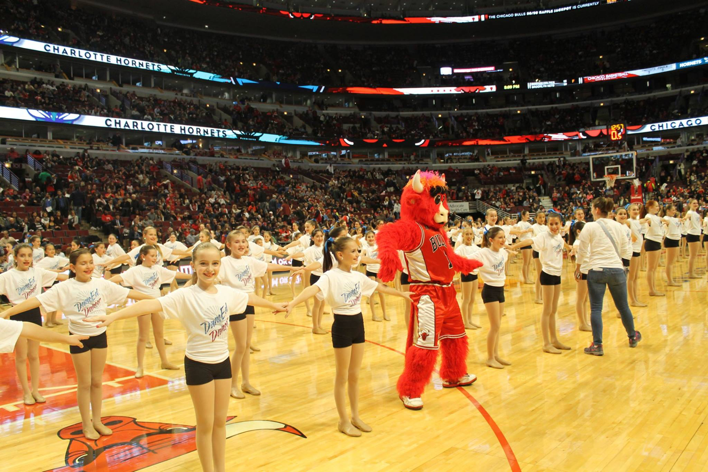 dancEd girls and benny the bull at united center